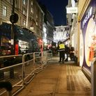 The scene outside the London Palladium after Oxford Circus station in London was evacuated because o