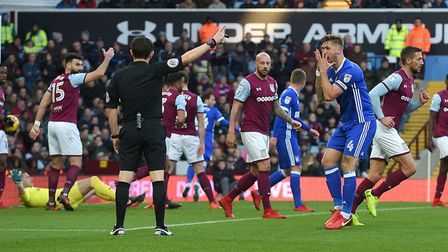 Ipswich Captain Luke Chambers looks at the referee in disbelief as Ipswich's first half goal is canc