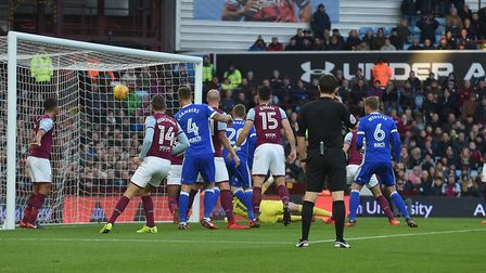 Ipswich manage to get the ball in the net but it is disallowed during the first half at Aston Villa