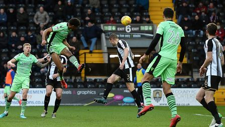 Mikael Mandron has a header at goal during the U's 2-1 defeat at Notts County. Mandron later had a p