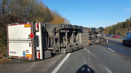 Overturned lorry on the M11. Picture: SGT COLIN SHEAD/ESSEX POLICE