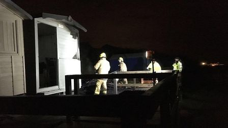 Three more beach huts were set on fire at Walton on the Naze on Sunday, November 26. Picture: FRINTO