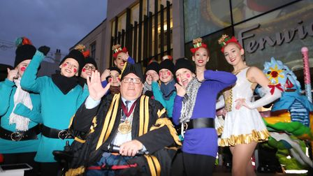 Mayor Gerard Oxford with elves. Picture: SEANA HUGHES