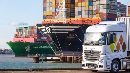 A Muntons-liveried truck at the Port of Felixstowe.Picture: STEPHEN WALLER