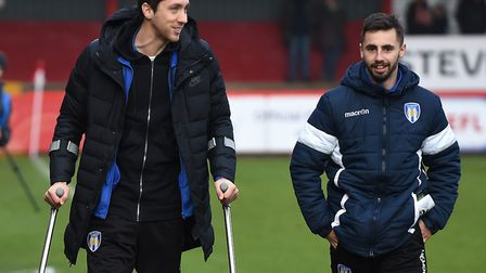 Walking wounded: U's players Luke Prosser, left, and Lewis Kinsella pictured at Stevenage on New Yea