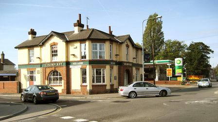 The Golden Key public house as the corner of Cauldwell Hall Road and Woodbridge Road. The public hou