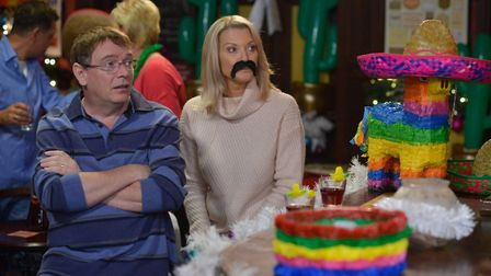 Ian and Kathy get into the party spirit before Christmas. Picture: KIERON MCCARRON