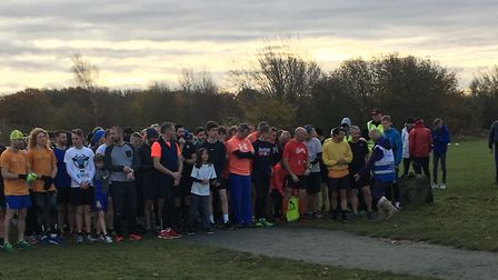 Runners congregate for the start of last Saturday's Great Notley Parkrun