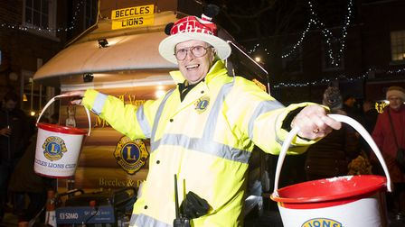 Chris Lambert from Beccles Lions enjoying the Christmas light switch-on.Picture: Nick Butcher