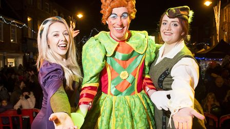 Robin Hood panto cast members help with the Beccles Christmas 2017 festive light switch-on. Picture: