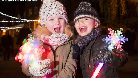 Faris Nelson and Flo Cook enjoying the Beccles Christmas 2017 festive light switch-on. Picture: Nic
