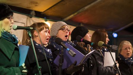 BellaTonic sing entertain at the Beccles Christmas light switch-on.