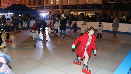 Families take to the ice rink at the Sudbury Christmas lights switch on 2017. Picture: SIMON TRAYLEN