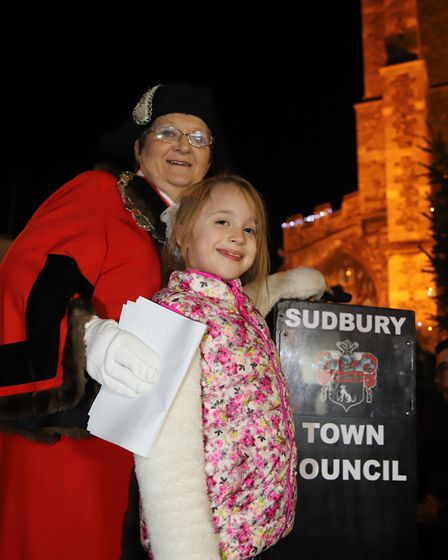 Sudbury Mayor Sarah Page along with the winner of this year's Christmas card competition, Grace Hisk