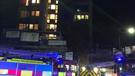 Emergency services at the scene of a fire, which broke out on the sixth floor of Cumberland Towers i