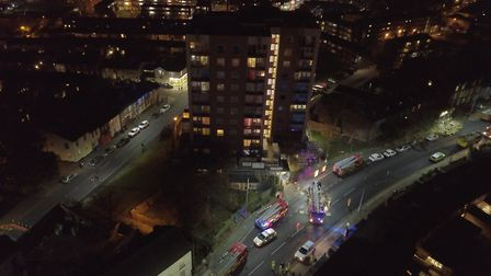 Aerial images of emergency services tackling a fire in a sixth floor flat at Cumberland Tower, Ipswi