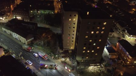 Aerial images of emergency services tackling a fire in a sixth floor flat at Cumberland Towers, Ipsw
