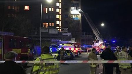 Fire crews tackle a blaze on the sixth floor of Cumberland Towers in Ipswich. Picture: EMILY TOWNSEN
