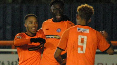 Braintree's Marcel Barrington celebrates his goal with Roman Michael-Percil and Phil Roberts (9).