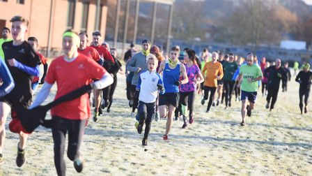 Runners brave the cold, frosty conditions at the Great Cornard Parkrun. Picture: GREGG BROWN