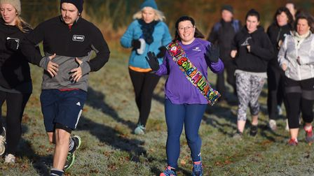 Runners were well wrapped-up but in high spirits at the Great Cornard Parkrun. Picture: GREGG BROWN