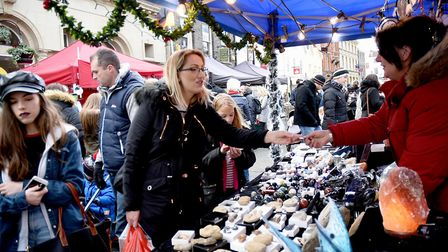 Stalls on the Cornhill as part of the Christmas Fayre in Bury St Edmunds. Picture: SUZANNE ABBOTT