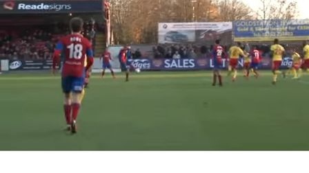 Adam McDonnell scored a spectacular goal while on loan from Ipswich Town at Aldershot. Picture: KAPP