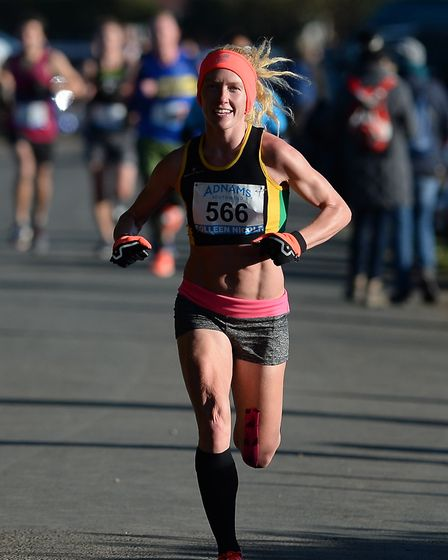 Ladies race winner Colleen Nicole on the first lap of the Adnams 10K at Southwold. Picture: PAGEPIX
