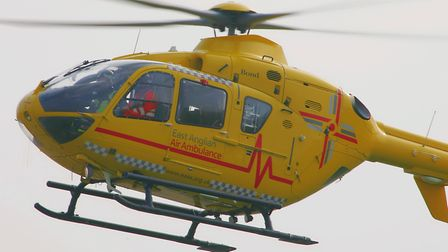The East Anglian Air Ambulance was called to the scene. Picture: SIMON PARKER