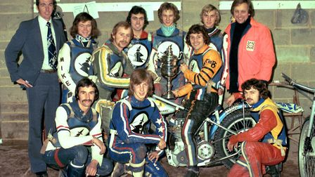 Loyalty and team spirit. John Berry with Ipswich Witches team that won the division one trophy in 19