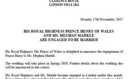 The announcement that Prince Harry is to marry his American actress girlfriend Meghan Markle. Pictur