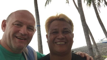 Windy Miller (left) with diving instructor Komang on the island of Bali. Picture: CONTRIBUTED