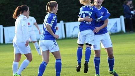 Sophie Welton and Lindsey Cooper celebrate. Picture: ROSS HALLS