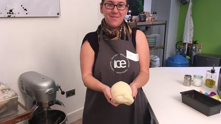 Charlotte with the bread dough.
