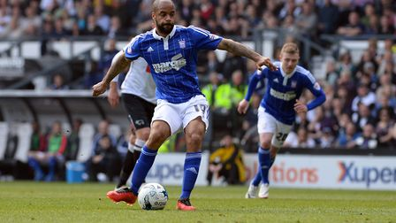 David McGoldrick scores the winner from the penalty spot at Pride Park in May 2016. Photo: Pagepix
