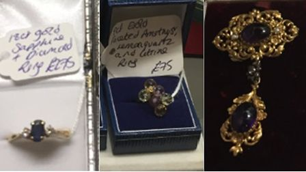 Police have released images of jewellery stolen during a raid at Gosfield Shopping village in Essex.
