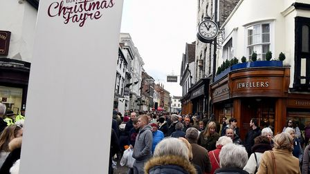 The packed Bury St Edmunds annual Christmas Fayre at the weekend. Crowds stretch up Abbeygate Str