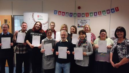 Adult learners at West Suffolk College's Sudbury centre celebrate GCSE success. Picture: WEST SUFFOL