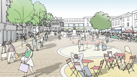 An artist's impression of a pedestrianised Cornhill. Picture: DAVID LOCK ASSOC