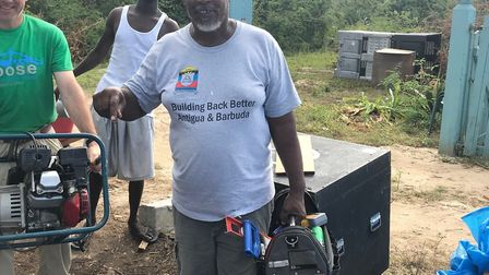 Residents on Barbuda receive tools. Picture: CONTRIBUTED