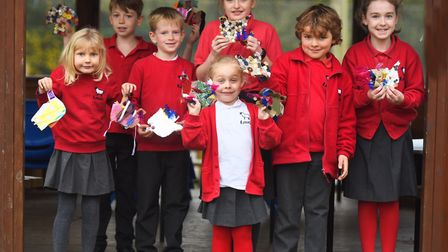 Kersey Primary School pupils with their Beautiful Birds of Peace creations. Picture: GREGG BROWN