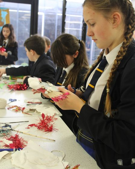 Pupils at Benjamin Britten High School, Lowestoft, take part in the Beautiful Birds of Peace project