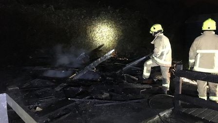 Three more beach huts were set on fire at Walton-on-the-Naze on Sunday, November 26. Picture: FRINTO