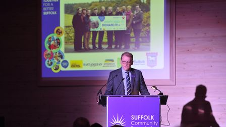 Stephen Singleton speaking at the Suffolk Community Foundation annual review at Trinity Park. Pictu