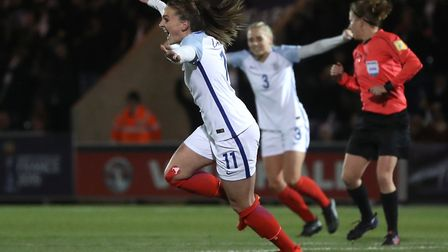 England's Melissa Lawley celebrates her strike. Picture: PA SPORT