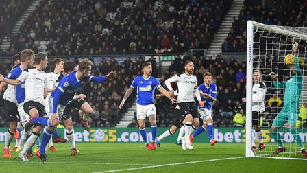 Callum Connolly scores his early goal at Derby. Picture: PAGEPIX LTD
