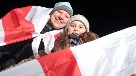 Anita and Mia Lambert at the England Ladies v Kazakhstan match. Picture: SARAH LUCY BROWN