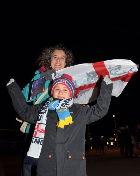 Zoe Frost and Arlen Wilson at the England Ladies v Kazakhstan match. Picture: SARAH LUCY BROWN