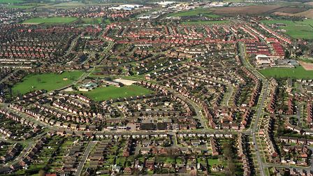 The Henley Rise, Castle Hill area of Ipswich, with the Whitton Estate in the background, in an aeria