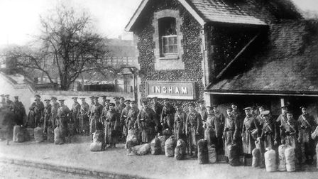 Royal Defence soldiers leaving for Masham in Yorkshire, February 11, 1917. The station closed to pas